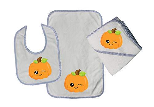 Kawaii Halloween Pumpkin Wink Cotton Boys-Girls Baby Bib-Burb-Towel Set - Blue, One Size -
