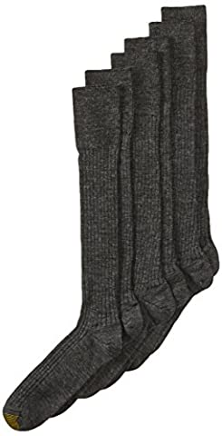 Gold Toe Men's Windsor Wool-Blend Over-the-Calf Dress Sock - 10-13 / Shoe: 6-12.5 - Charcoal (Pack of 3)