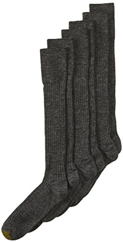or Wool-Blend Over-the-Calf Dress Sock - 10-13 / Shoe: 6-12.5 - Charcoal (Pack of 3) ()