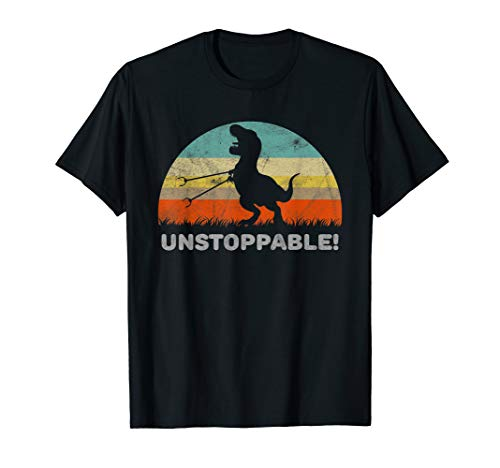 Unstoppable T Rex With Trash Grabber Pickup Tool Funny T-Shirt
