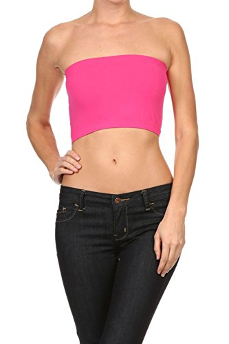 Bubble B Women's Seamless Solid Colored Bandeau Tube Top Neon Pink One Size (Cropped Tube Top)