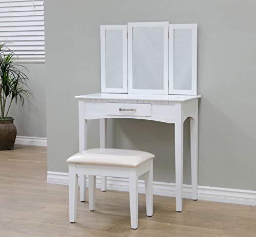 Frenchi Home Furnishing 2 Piece Home Furnishing  Set  Vanity with Stool (Table Vanity Furniture Set)