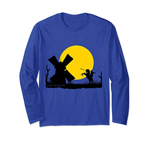 Don Quixote vs Windmill in Sunset  Long Sleeve T-Shirt