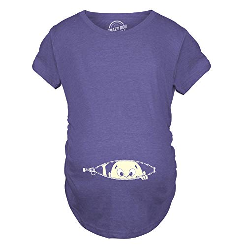 (Crazy Dog T-Shirts Maternity Baby Peeking T Shirt Funny Pregnancy Tee for Expecting Mothers (Heather Purple))