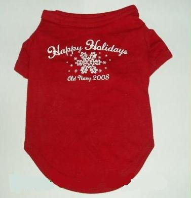 Old Navy Dog Supply Happy Holidays Christmas Shirt - Red XS 5 to 10 Pounds for $<!--$7.94-->