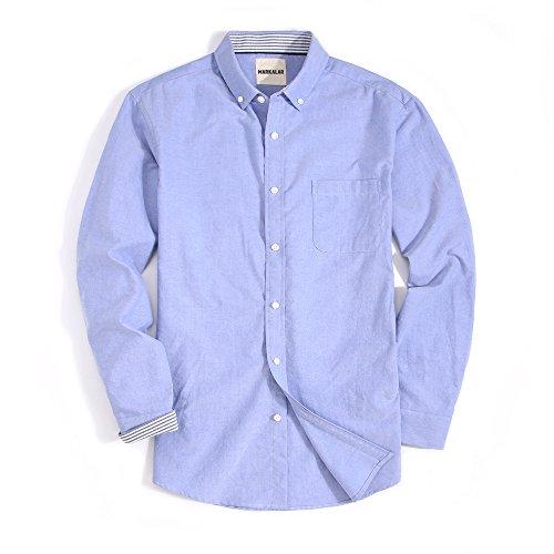 Button Down Long Sleeve Oxford Shirt - Mens Casual Oxford Dress Shirts Regular Fit Long Sleeve Button Down Shirts,Blue,L