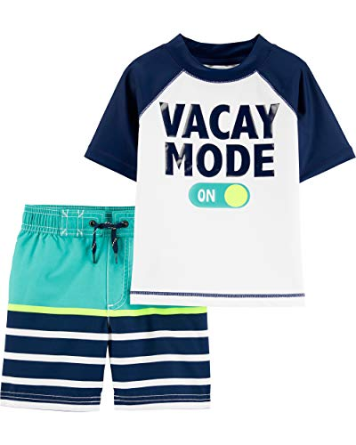 Swim Trunk Set - Carter's Toddler Boys' Rashguard Swim Set, Vacay Mode, 4T
