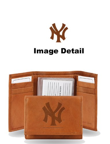 MLB New York Yankees Embossed Genuine Cowhide Leather Trifold Wallet ()