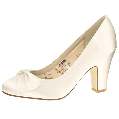 Elsa Coloured Shoes - Zapatos de vestir de Satén para mujer Blanco blanco marfil