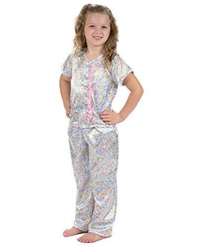 Laura Dare Girls Cotton Candy Button Front Capri Pajamas