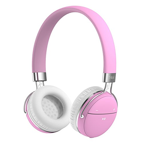 Tribit XFree Move Wireless Headphones for Girls, Hi-Fi Stereo Deep Bass Bluetooth Headphones with Noise Cancelling, Bullet-in Mic and Wired Mode for PC/Cell Phones, Support 3.5 mm Aux Devices, Pink