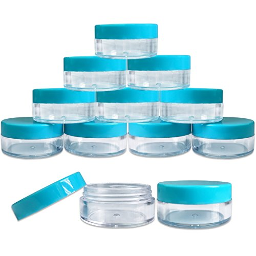 (Quantity: 20 Pieces) Beauticom 10G/10ML Round Clear Jars with TEAL Sky Blue Lids for Small Jewelry, Holding/Mixing Paints, Art Accessories and Other Craft Supplies - BPA Free