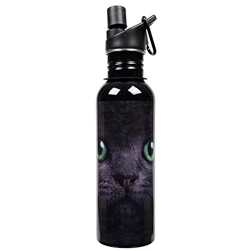 Black Cat With Green Eyes Water Bottle (Sea Dog Costume)