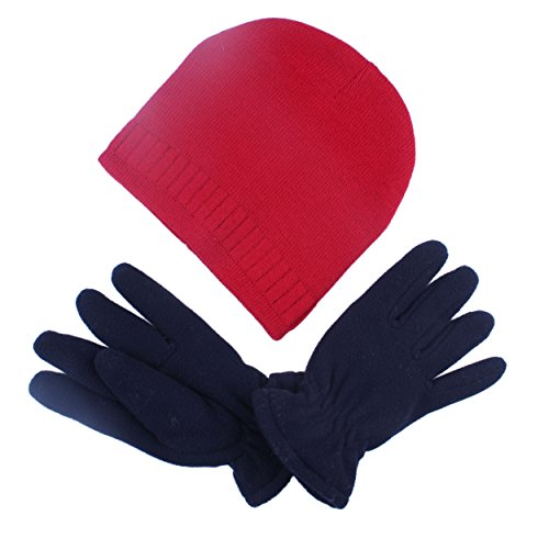 Old Navy Fleece Mittens Hat (2Pcs Children Kids Boy Girl Soft Red Winter Beanies Hat Cap With Navy Fleece Gloves Mittens Set)