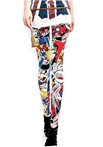 Lucky Girl Coloful American Comics Print Leggings (One Size (S/M), American ()