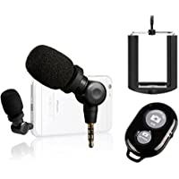 Saramonic i-Mic Professional TRRS Condenser Microphone for iPhone, iPad, iPod Touch, & Mac, IOS Devices and Android Smartphones + Ivation Smartphone Tripod Adapter and Selfie Remote Controller