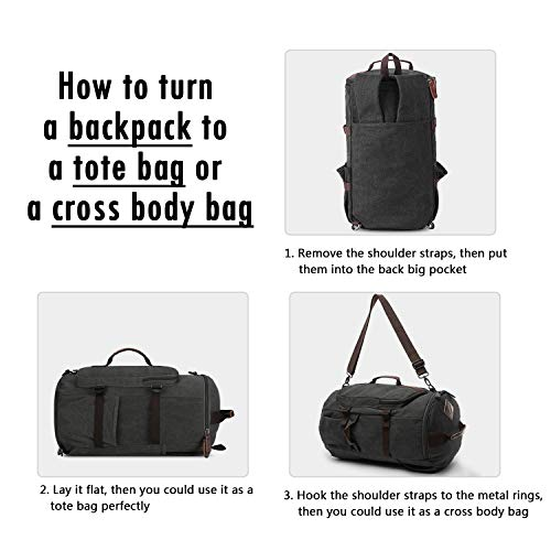 duffle backpack, Yousu Mens Large Canvas Travel Backpacks Casual Vintage Carry on Rucksack Daypack 3-In-1 Black