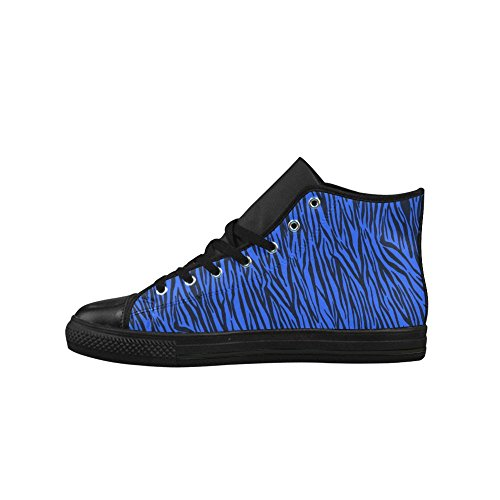 D-story Custom Blue Zebra Stripes Aquila High Top Action Zapatos De Mujer De Cuero (modelo 027)