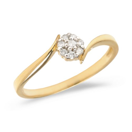 Diamond Flower Stackable Ring - 0.08 Carat (ctw) 14k Yellow Gold Round Diamond Flower Cluster Bypass Engagement Promise Ring - Size 7