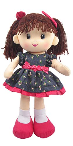 "Linzy Plush 16"" Magenta Libby Soft Rag Doll"