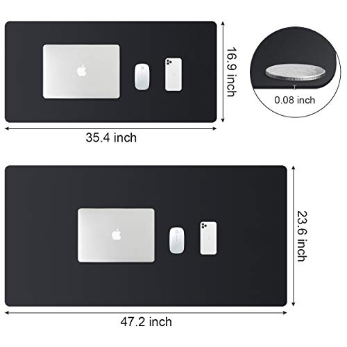 PUPUFU Large Leather Desk Pad - Dual Sided Office Desk Mat - 47.2\'\'x23.6\'\' Extra Big Mouse Keyboard Pad Waterproof Mousepad Desk Cover Writing Pad for Office and Home(Black)
