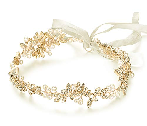 Ammei Vintage Bridal Crystal Headbands Wedding Headpieces Hair Pieces For Bride Bridesmaids Flower Girl Prom Hair Accessories With Ivory Ribbons Hair Vines (Gold)
