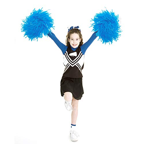 12 Pack Cheerleading Pom Poms, 9.8 Inch Sports Dance cheer Plastic Cheerleader Cheerleading for Children, Odorless Hand Flowers Cheerleader Pompoms for Party Dance Sports Team Spirit Cheering (Blue)