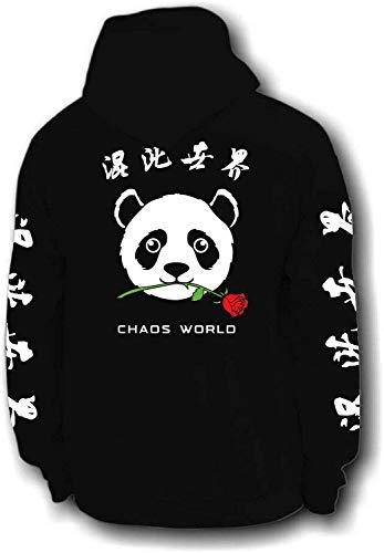 Chaos World Men's Embroidered Hoodie Sweatshirt Unisex Pullover (Panda,4XL)