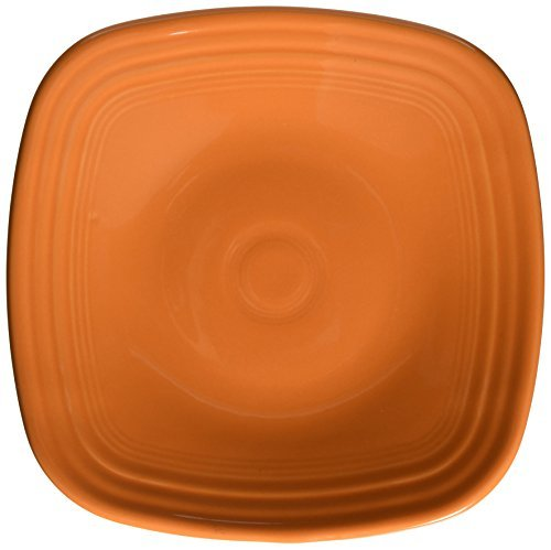 Fiesta 9-1/8-Inch Square Luncheon Plate Tangerine by Homer Laughlin