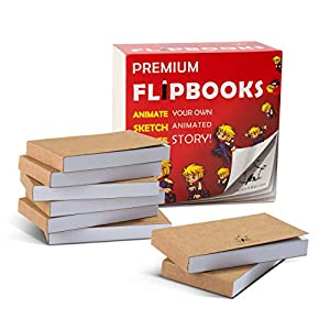 8 Pack Blank FLIPBOOKS (Flip Books) for Kids & Adults, Premium, No Bleed Flip Book Kit; 180 Pages; 2.5″ x 4.5″. Opens Flat with Thick Textured 120 GSM Drawing Paper and Sewn Binding
