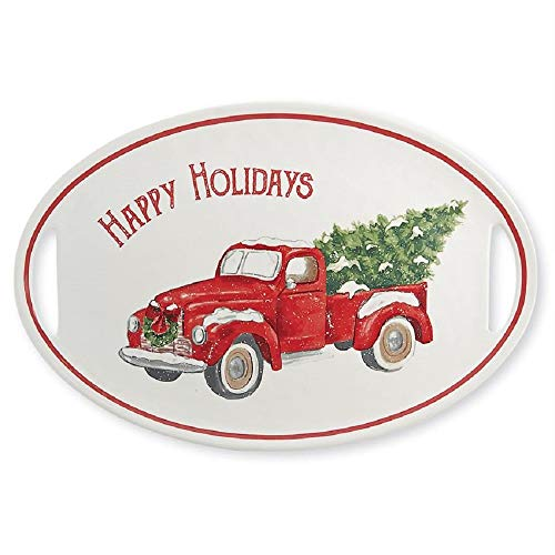 Mud Pie 40700020 Vintage Christmas Holiday Truck Serving Platter, One Size, White, Red