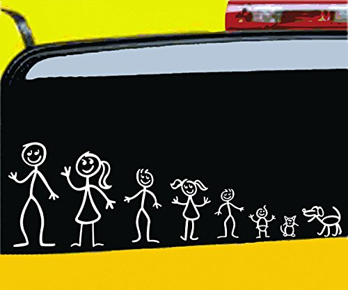 Nepa Designs All in the STICK FIGURE FAMILY your Funny Vinyl Decal Sticker comes In White No Inks 100% Vinyl