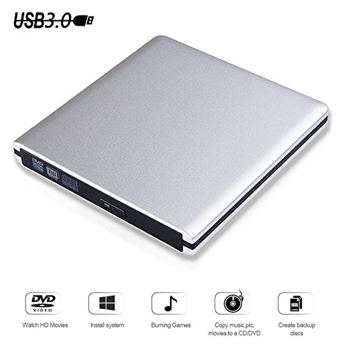 USB 3.0 External DVD CD Drive Burner,TENNBOO Portable CD/DVD-RW Burner Writer Player for Laptop Notebook PC Desktop Computer,High Speed Data Transfer (DVD003)