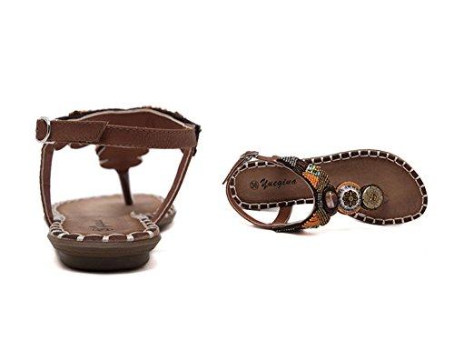 Sandalias Bohemia Mujer T-Correa Sandalias De Playa Planas Rhinestone Zapatos Y Sandalias Marrón claro