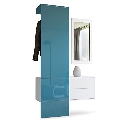 Vladon Brillance Mat panneau Portemanteau Panneau 4 Corps Garderobe Set Blanc Haute Turquoise En Vestiaire Carlton pzrqp7