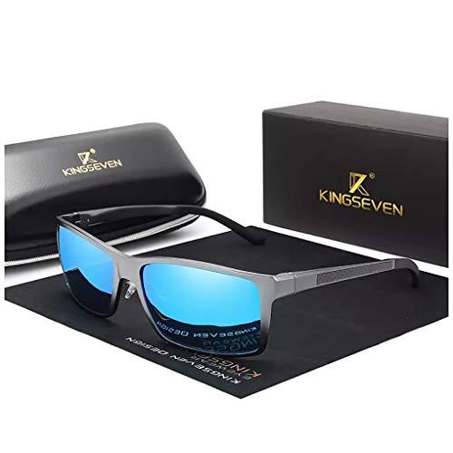 Genuine Kingseven adjustable sunglasses 2019 rectangular men polarized UV400 Ultra light Al-Mg ()