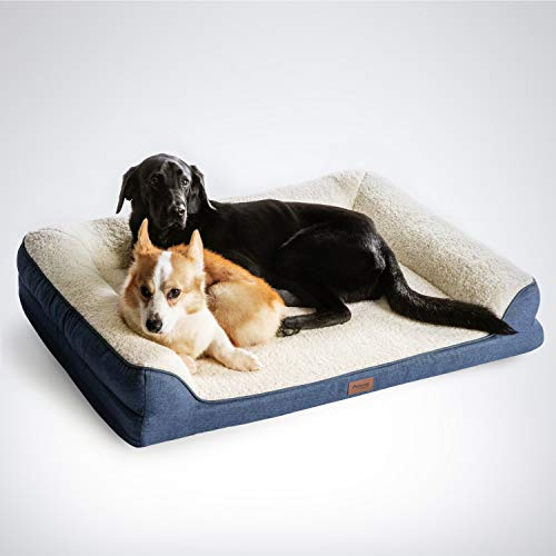 Petsure Orthopedic Dog Beds for Small, Medium, Large Dogs & Cats - 42x32x7 inches Extra Large Dog Beds, Denim Blue - Memory Foam Couch Dog Bed with Removable Washable Cover - Bolster Dog Beds