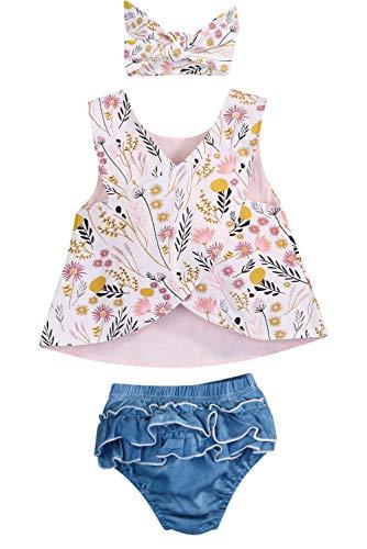 Infant Toddler Kids Baby Girls Cross Vest Denim Shorts Wildflowers Ruffled Leaf with Headband 3PCS 0-3T (6-12Months, White)