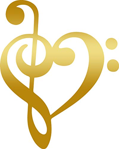 ANGDEST Treble Bass Clef Music Note Heart (Metallic Gold) (Set of 2) Premium Waterproof Vinyl Decal Stickers for Laptop Phone Accessory Helmet Car Window Bumper Mug Tuber Cup Door Wall Decoration