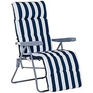 Cisne 2013, S.L. Cojín para Silla con Respaldo Alto, Cojín para Tumbona. Almohadilla Antideslizante para sillón Plegable (180 x 55 x 8 cm) (Silla no incluida) (Azul)