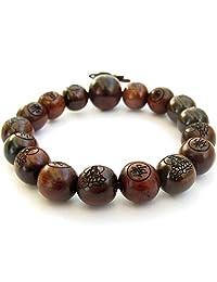 Tibetan Buddhist 12mm Wood Beads Fo Kwan-yin Mala Meditation Wrist Bracelet by OVALBUY
