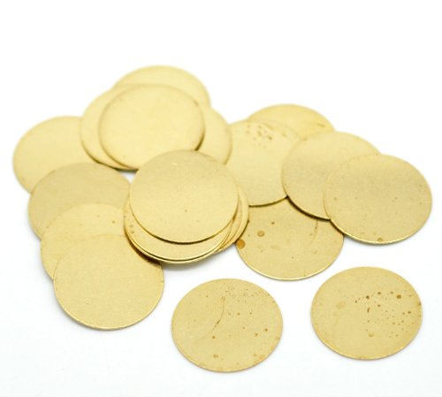 Rockin Beads Brand, 100 Solid Brass Stamping Round Blanks with No Hole Disk Tag Pendants 16mm 5/8 Inch Require Polishing