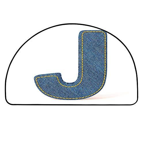 (YOLIYANA Letter J Semi Circle Mat,Blue Jean Patterned Denim Alphabet Font Design Capitalized J Letter Cloth Style Decorative Carpet Indoor Mat,27.5