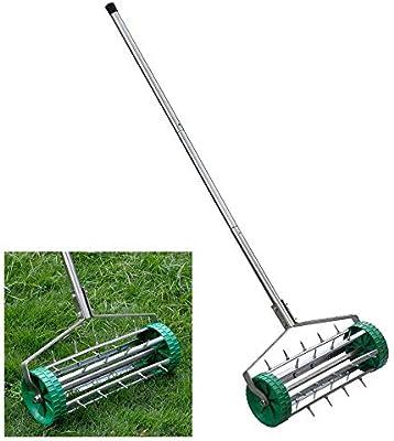 NOBLJX Aireadores manuales para césped, Rodillo para césped de púas para jardín, para Trabajo Pesado, Tambor de Pinchos de 3.5 cm, Materiales de Acero de Primera Calidad, Mango Antideslizante: Amazon.es: Hogar
