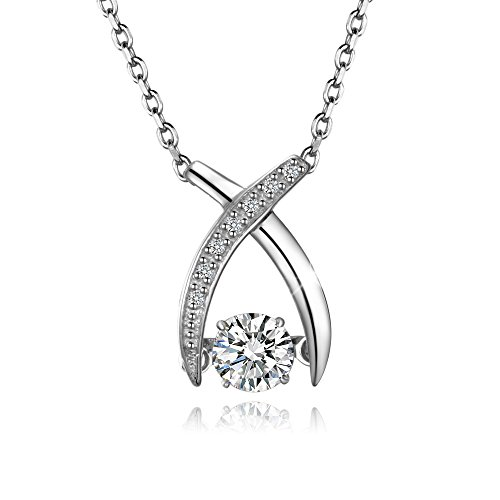 (T400 925 Sterling Silver Pendant Necklace Dancing Diamond Stone Cubic Zirconia from Swarovski Women Gift)
