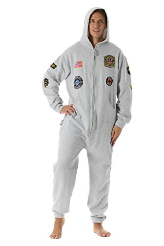 #followme 6454-GRY-L Jumpsuit Adult Onesie With Patches Pajamas