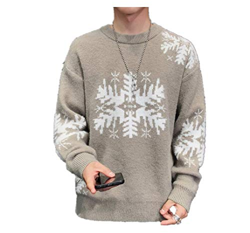 Mens Sweater Autumn-Winter Sweaters Pullover Snowflake Warm Elegant Christmas Knitted Pullover Sweatshirt Jumper Gray