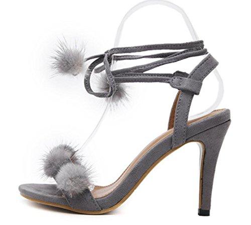 Alto De Salón Moda Verano Sandalias Grey Tacón Nuevo Aguja Elegante Piel Linyi Mujer CTtqp