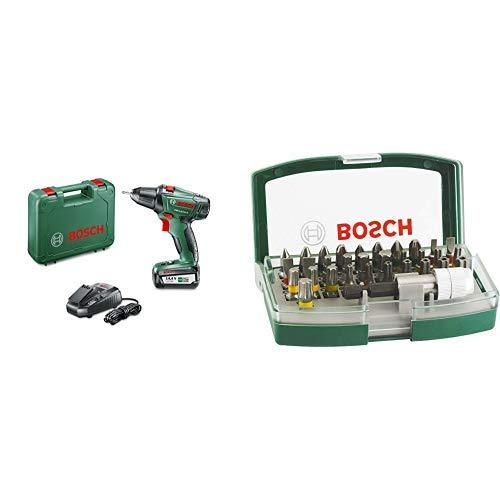 Bosch 060397340N - Taladro atornillador a batería de litio, cargador, 14.4 V, 16 W + Bosch 2607017063 - Set de 32 unidades para atornillar