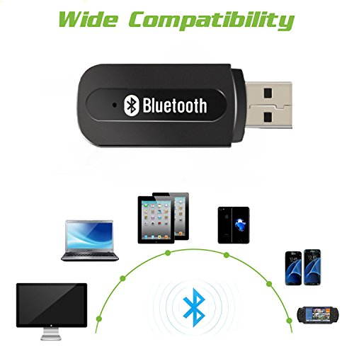 Bluetooth Music Receiver Ideal For In Car Or In Home: Bluetooth Adapter Receiver,URANT Car Kit Mini USB Wireless Audio Adapter Bluetooth Music